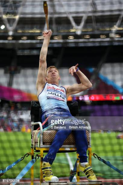 Stephen Miller of Great Britain competes in the Men's Club Throw F32 Final during day seven of the IPC World ParaAthletics Championships 2017 at...