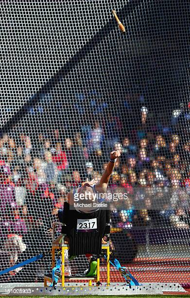 Stephen Miller of Great Britain competes in the Men's Club Throw F31/32/51 Final on day 2 of the London 2012 Paralympic Games at Olympic Stadium on...