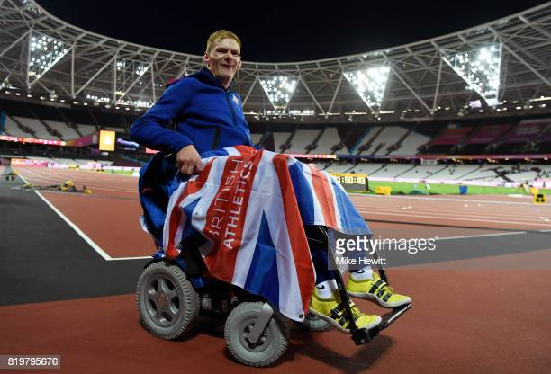 Stephen Miller of Great Britain poses for a photo after winning a bronze medal in the Men's Club Throw F32 Final during day seven of the IPC World...