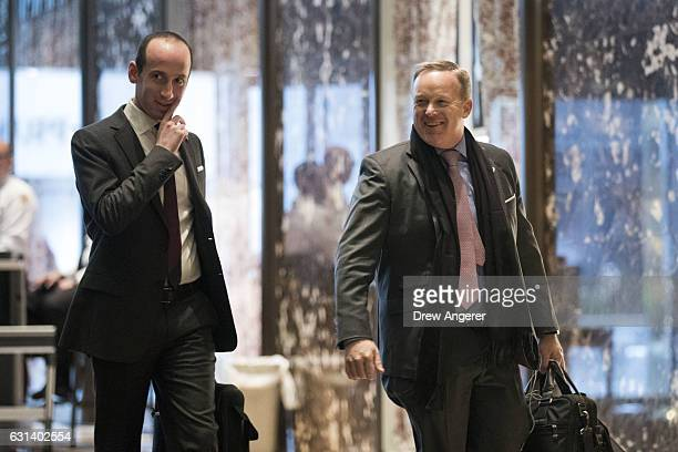 Stephen Miller senior policy advisor to Presidentelect Donald Trump and Sean Spicer incoming White House Press Secretary arrive at Trump Tower...