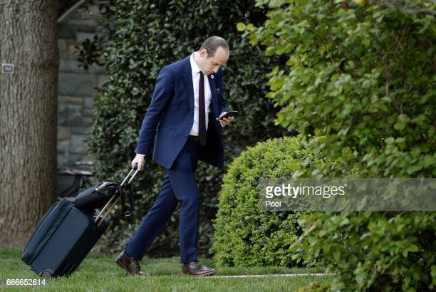 Stephen Miller senior policy advisor to US President Donald Trump walks on the South Lawn upon arrival at the White House in April 9 2017 in...
