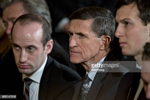 Stephen Miller White House senior advisor for policy from left General Michael Flynn US national security advisor and Jared Kushner senior White...