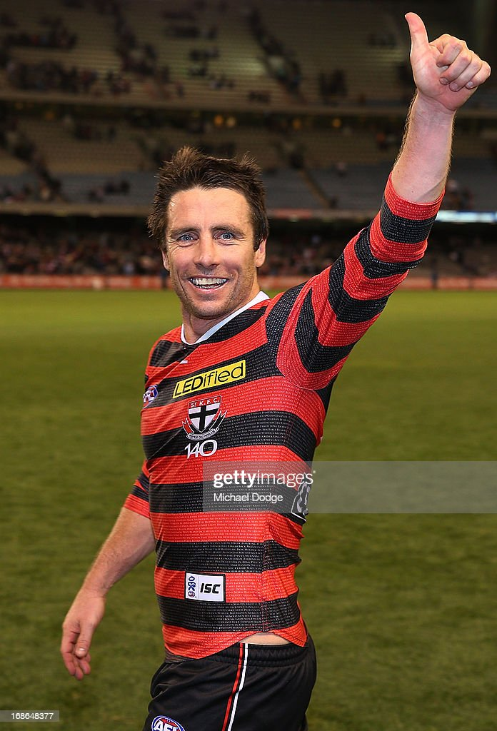 <a gi-track='captionPersonalityLinkClicked' href=/galleries/search?phrase=Stephen+Milne&family=editorial&specificpeople=171906 ng-click='$event.stopPropagation()'>Stephen Milne</a> of the Saints celebrates the win during the round seven AFL match between the St Kilda Saints and the Carlton Blues at Etihad Stadium on May 13, 2013 in Melbourne, Australia.