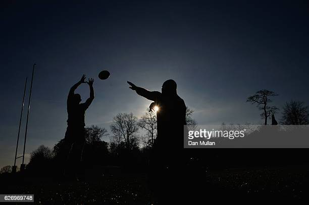 Stephen Moore and Scott Fardy practice a line out during an Australia training session at Harrow School on December 1 2016 in London England...