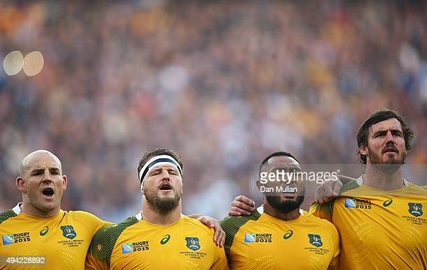Stephen Moore James Slipper Sekope Kepu and Kane Douglas of Australia sing the national anthem prior to the 2015 Rugby World Cup Semi Final match...