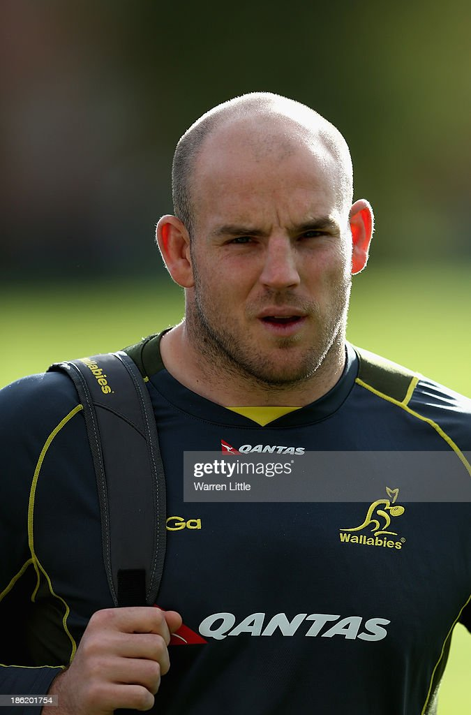Stephen Moore of Australia arrives for a training session at Latymer School on October 29, 2013 in London, England.