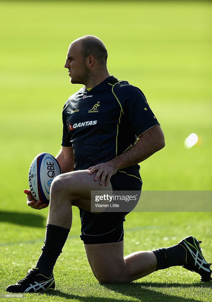 Stephen Moore of Australia in action during a training session at Latymer School on October 29, 2013 in London, England.