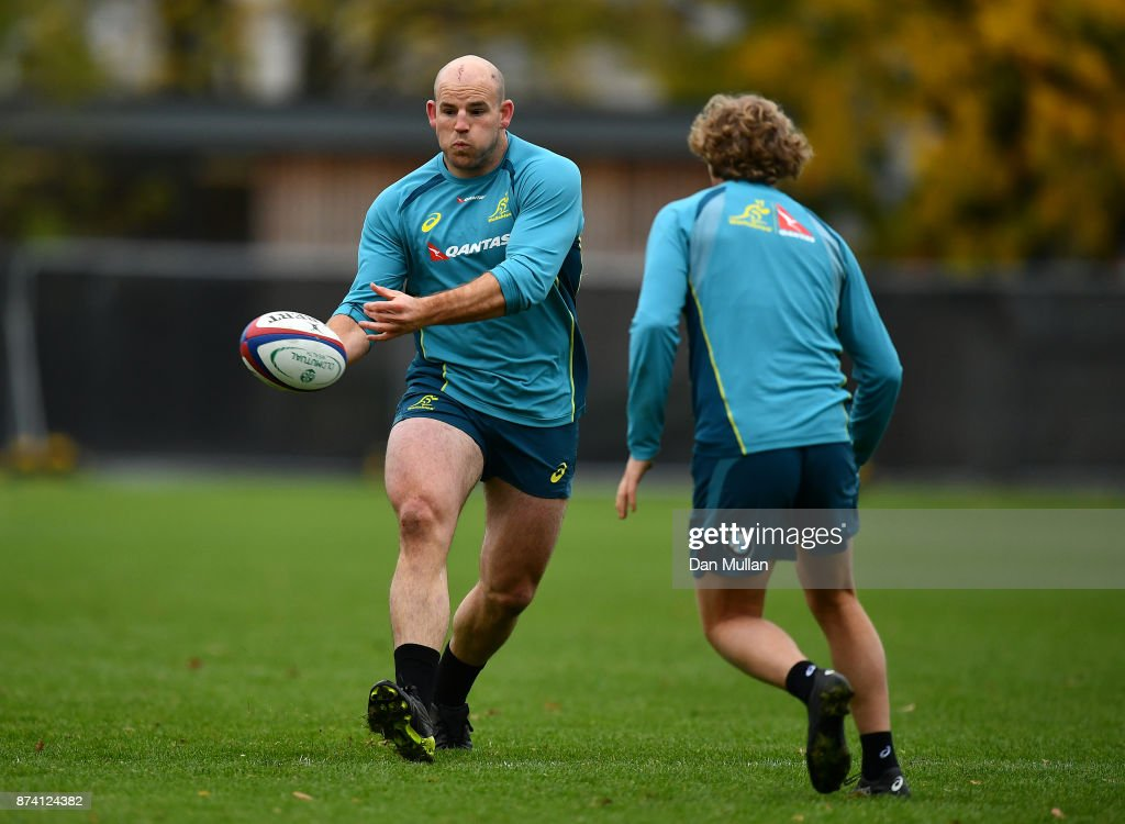Stephen Moore of Australia releases a pass during a training session at the Lensbury Hotel on November 14, 2017 in London, England.