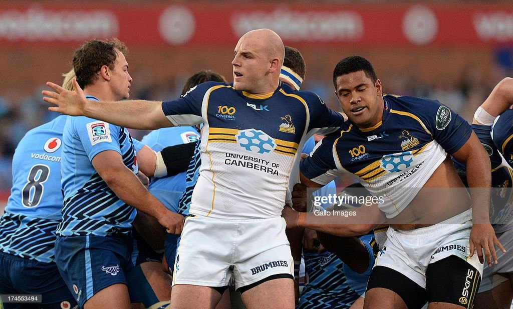 Stephen Moore (R) of Brumbies reacts after a scrum down during the SupeRugby semi final match between Vodacom Bulls and Brumbies at Loftus Versfeld Stadium on July 27, 2013 in Pretoria, South Africa.