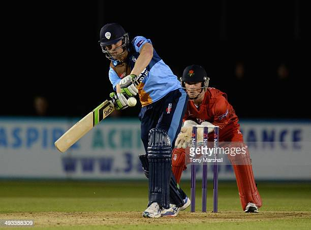 Stephen Moore of Derbyshire Falcons batting during the NatWest T20 Blast match between Derbyshire Falcons and Lancashire Lightning at The County...