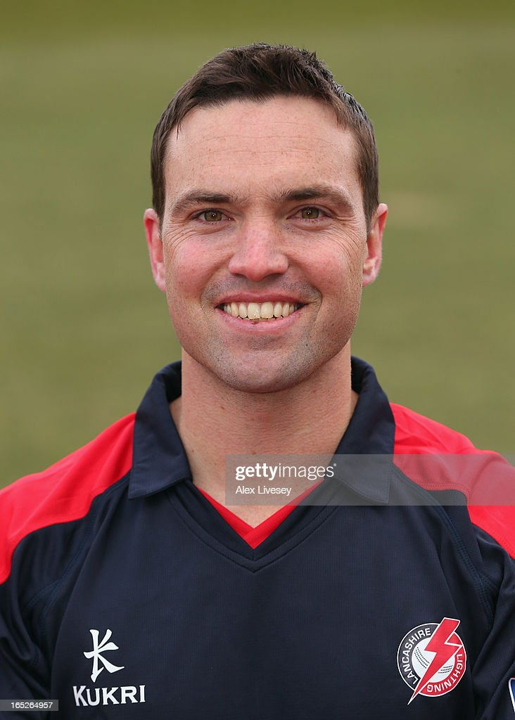 Stephen Moore of Lancashire CCC wears the Yorkshire 40 during a pre-season photocall at Old Trafford on April 2, 2013 in Manchester, England.