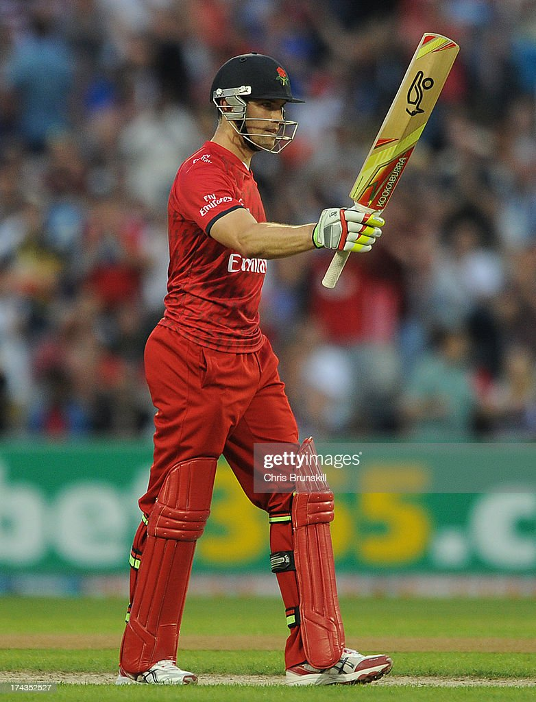 Stephen Moore of Lancashire Lightning celebrates reaching his half century during the Friends Life T20 match between Lancashire Lightning and Yorkshire Carnegie at Old Trafford on July 24, 2013 in Manchester, England.