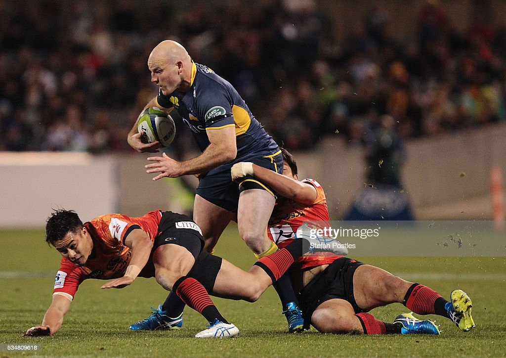 <a gi-track='captionPersonalityLinkClicked' href=/galleries/search?phrase=Stephen+Moore+-+Rugby+Player&family=editorial&specificpeople=227293 ng-click='$event.stopPropagation()'>Stephen Moore</a> of the Brumbies is tackled during the round 14 Super Rugby match between the Brumbies and the Sunwolves at GIO Stadium on May 28, 2016 in Canberra, Australia.