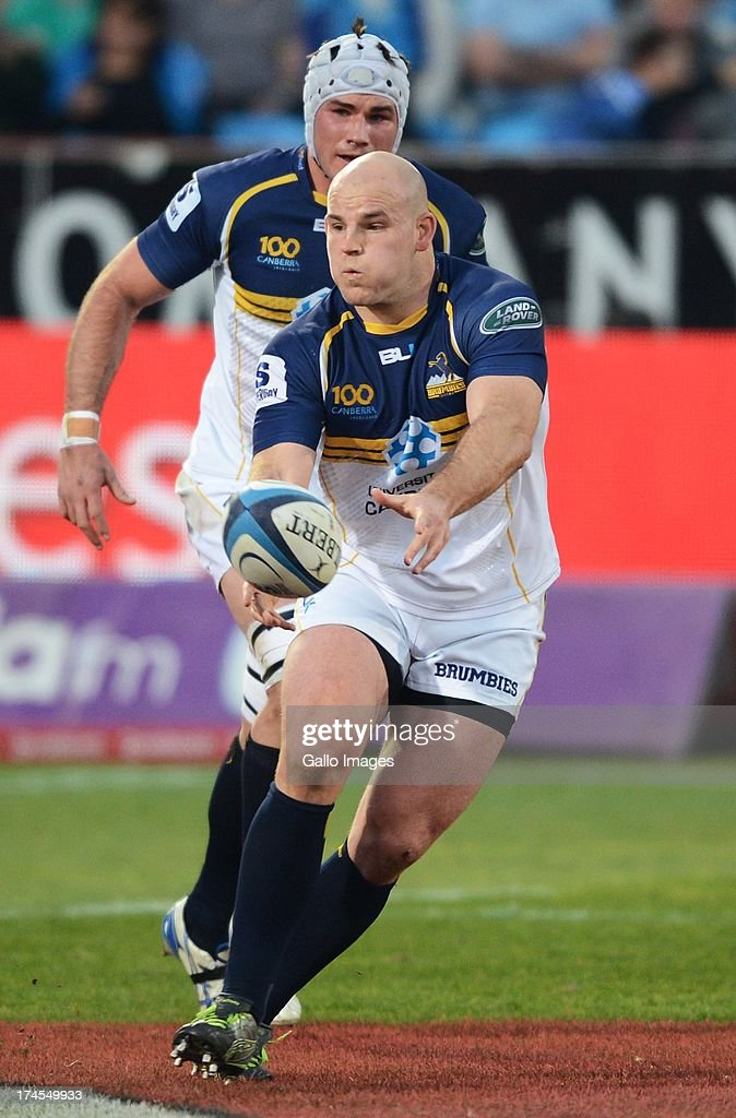 Stephen Moore of the Brumbies passes the ball during the SupeRugby semi final match between Vodacom Bulls and Brumbies from Loftus Versfeld Stadium on July 27, 2013 in Pretoria, South Africa.