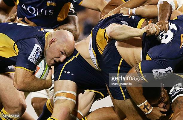 Stephen Moore of the Brumbies peels off the back of a rolling maul to score a try during the round one Super Rugby match between the Brumbies and the...