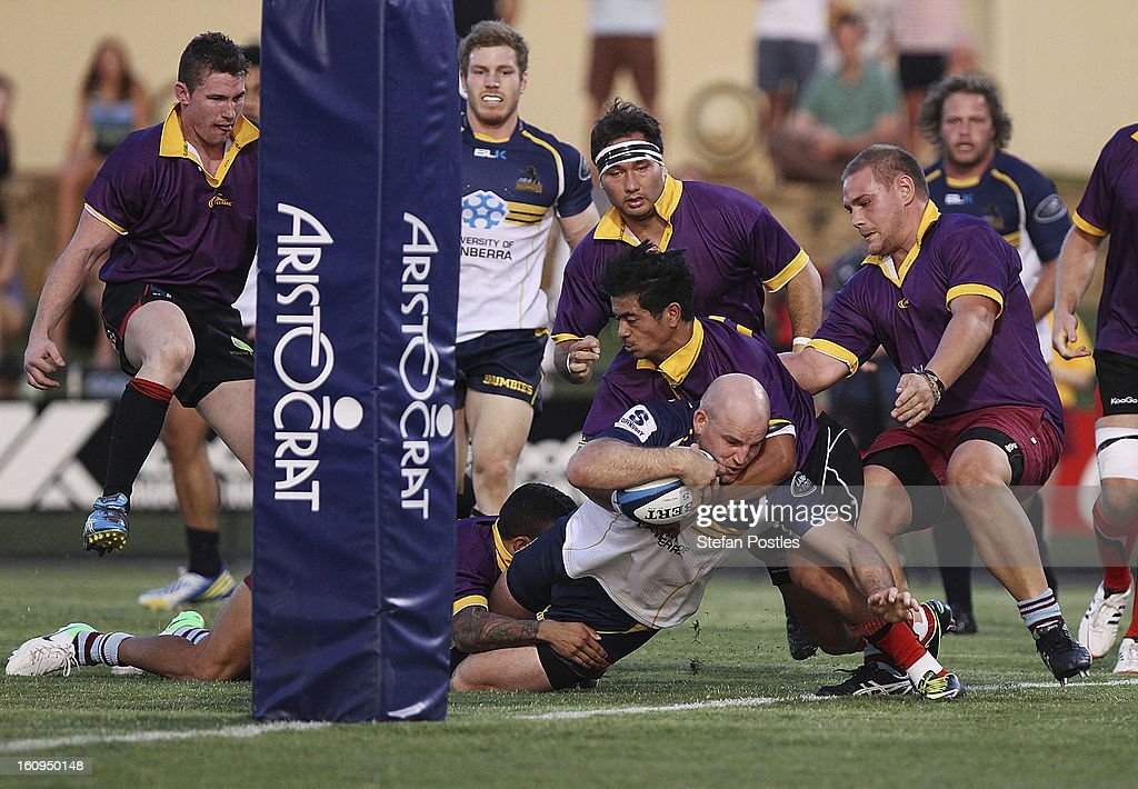 Stephen Moore of the Brumbies scores a try during the Super Rugby trial match between the Brumbies and the ACT XV at Viking Park on February 8, 2013 in Canberra, Australia.