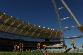 Stephen Moore of the Wallabies throws the ball into the lineout during an Australian Wallabies training session at the Moses Mabhida Stadium on...