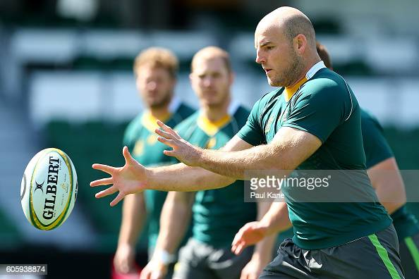 Stephen Moore receives the ball during the Wallabies captain's run at nib Stadium on September 16 2016 in Perth Australia