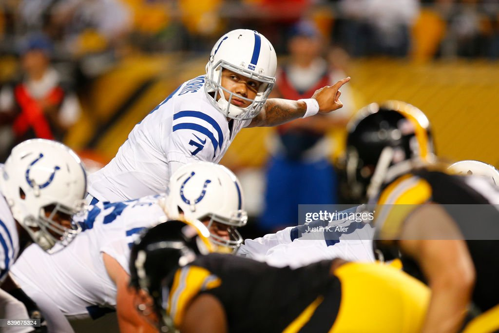 Stephen Morris #7 of the Indianapolis Colts directs the offense against the Pittsburgh Steelers during a preseason game on August 26, 2017 at Heinz Field in Pittsburgh, Pennsylvania.