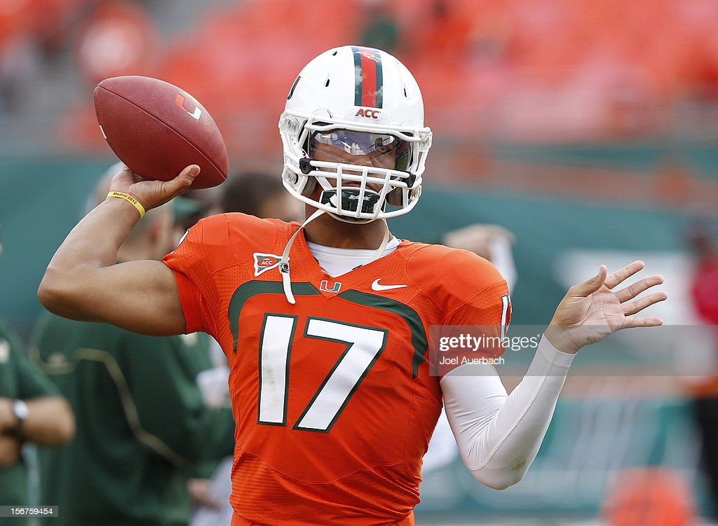 Stephen Morris #17 of the Miami Hurricanes throws the ball prior to the game against the South Florida Bulls on November 17, 2012 at Sun Life Stadium in Miami Gardens, Florida. The Hurricanes defeated the Bulls 40-9.
