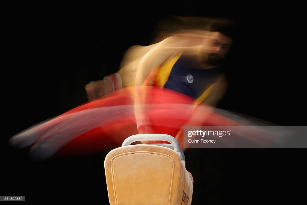 Stephen Moulds of South Australia competes on the pommel horse during the 2016 Australian Gymnastics Championships at Hisense Arena on May 28, 2016 in Melbourne, Australia.