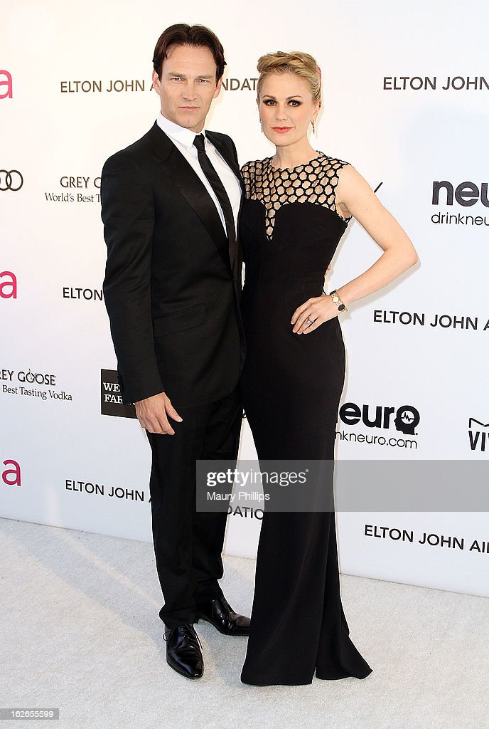 Stephen Moyer and Anna Paquin arrives at the 21st Annual Elton John AIDS Foundation Academy Awards Viewing Party at Pacific Design Center on February 24, 2013 in West Hollywood, California.
