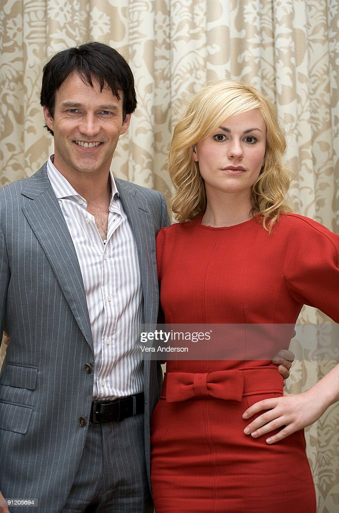 Stephen Moyer and Anna Paquin at the 'True Blood' press conference at the Four Seasons Hotel on July 22, 2009 in Beverly Hills, California.