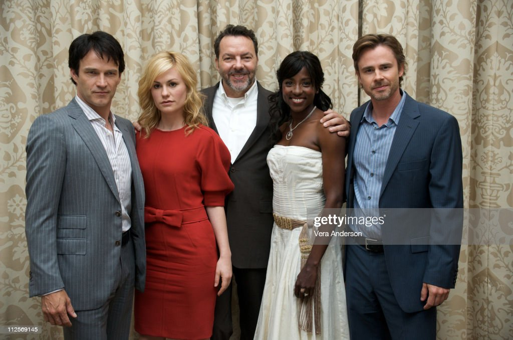 Stephen Moyer, Anna Paquin, Alan Ball, Rutina Wesley and Sam Trammell at the 'True Blood' press conference at the Four Seasons Hotel on July 22, 2009 in Beverly Hills, California.