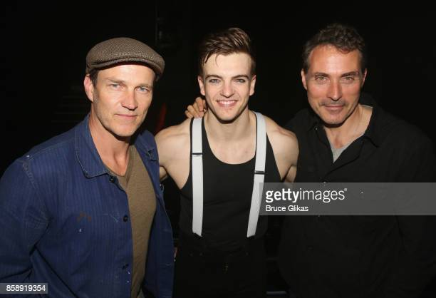 Stephen Moyer Jonno Davies and Rufus Sewell pose backstage at the hit play 'A Clockwork Orange' at New World Stages on October 7 2017 in New York City