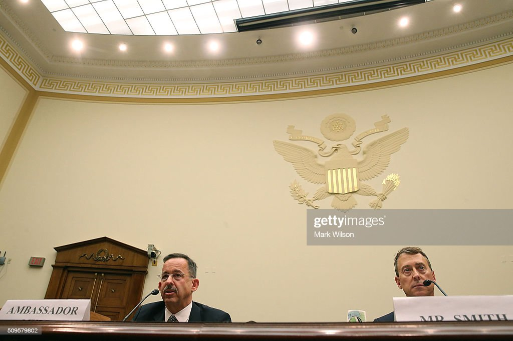 Stephen Mull, State Department Lead Coordinator for Iran Nuclear Implementation, and John Smith, acting director of the Treasury Department's Office of Foreign Assets Control, testify during a House Foreign Affairs Committee hearing on Capitol Hill, February 11, 2016 in Washington, DC. The committee heard testimony on the Iran Nuclear deal oversight and consequences.