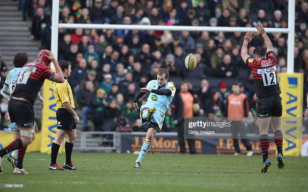 Stephen Myler of Northampton kicks the ball upfield during the Aviva Premiership match between Saracens and Northampton Saints at StadiumMK on December 0, 2012 in Milton Keynes, England.