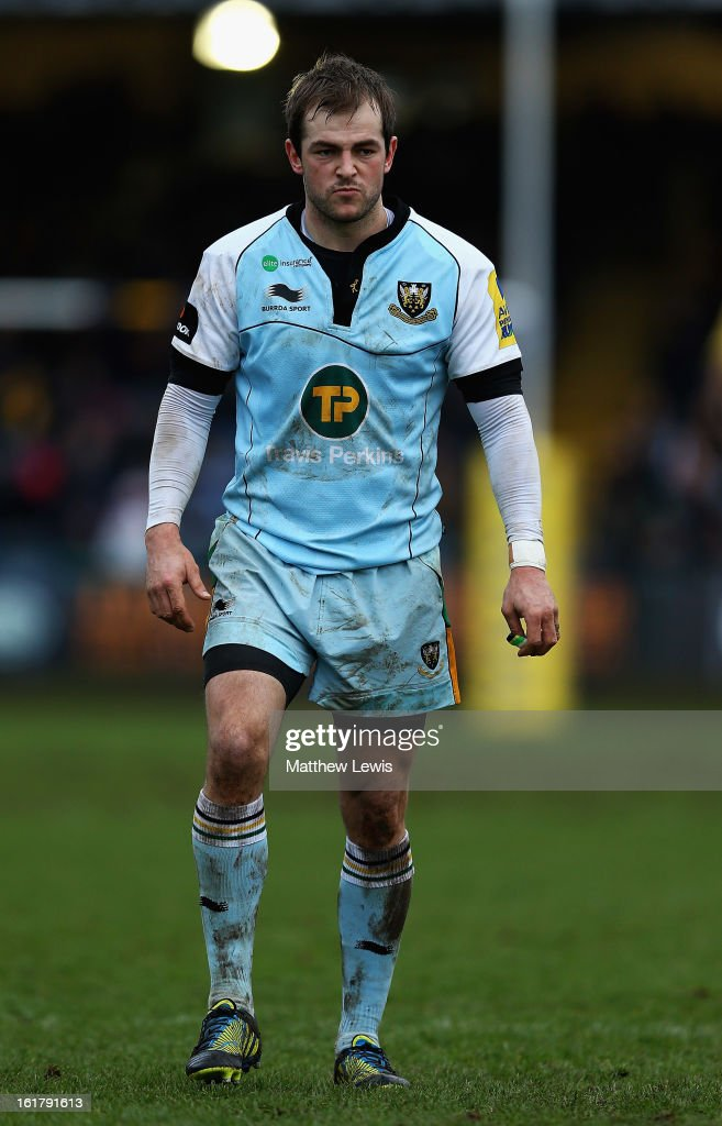 <a gi-track='captionPersonalityLinkClicked' href=/galleries/search?phrase=Stephen+Myler&family=editorial&specificpeople=2335052 ng-click='$event.stopPropagation()'>Stephen Myler</a> of Northampton Saints in action during the Aviva Premiership match between Worcester Warriors and Northampton Saints at Sixways Stadium on February 16, 2013 in Worcester, England.
