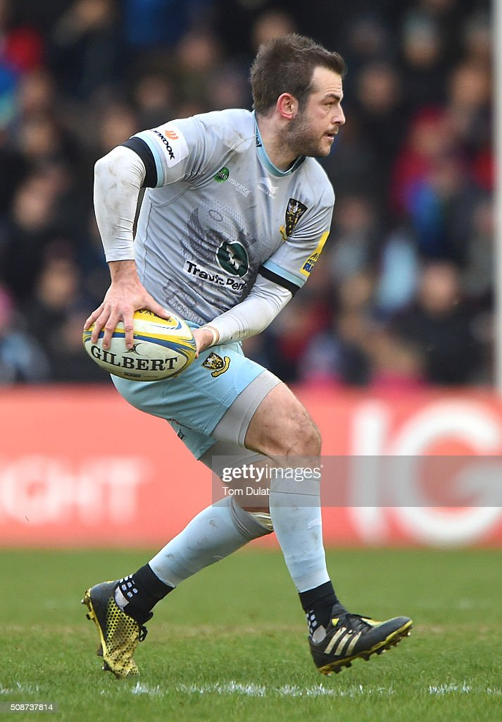 Stephen Myler of Northampton Saints in action during the Aviva Premiership match between Harlequins and Northampton Saints at Twickenham Stoop on February 6, 2016 in London, England. (Photo by Tom Dulat/Getty Images).