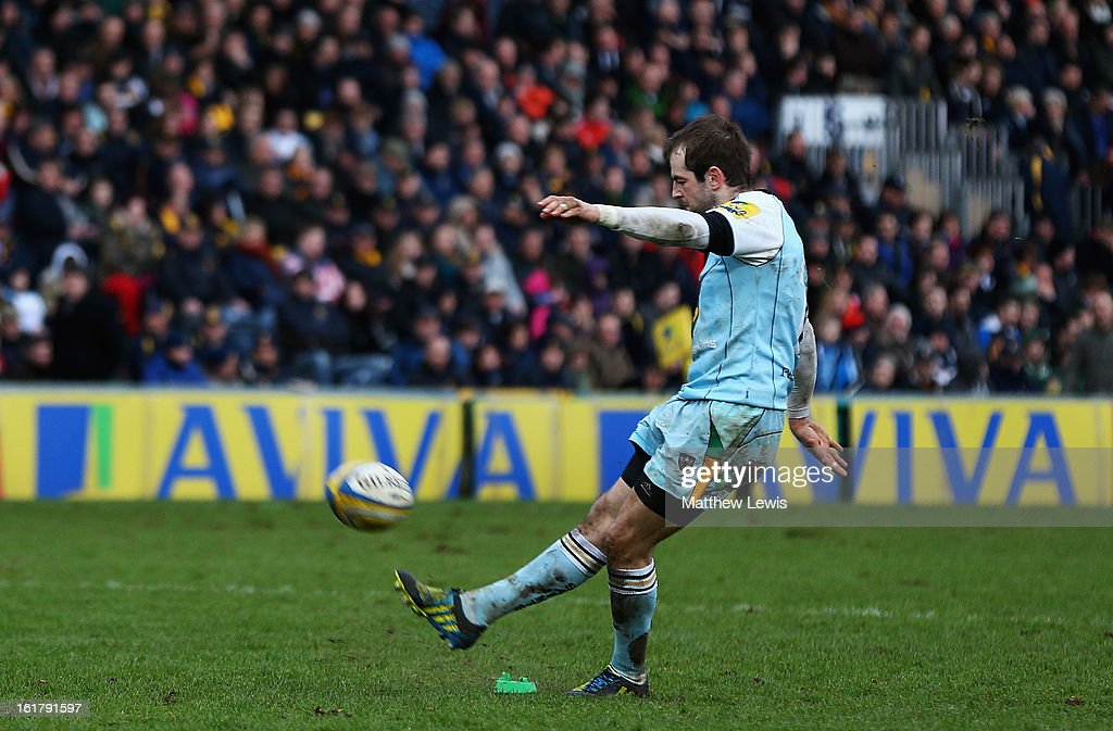 Stephen Myler of Northampton Saints kicks a conversion during the Aviva Premiership match between Worcester Warriors and Northampton Saints at Sixways Stadium on February 16, 2013 in Worcester, England.