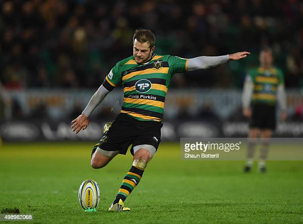 Stephen Myler of Northampton Saints kicks a penalty during the Aviva Premiership match between Northampton Saints and Gloucester Rugby at Franklin's...