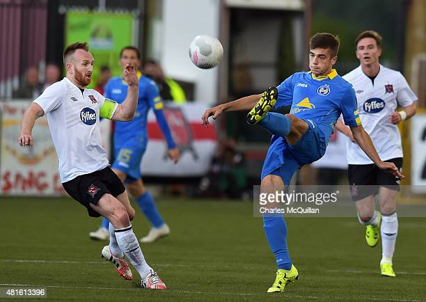 Stephen O'Donnell of Dundalk and Aliaksandr Karnitski of BATE Borisov during the Champions League 2nd round qualifying game at Oriel Park on July 22...