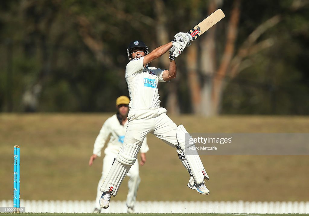 Stephen O'Keefe of the Blues bats during day two of the Sheffield Shield match between the New South Wales Blues and the Western Australia Warriors at Blacktown International Sportspark on January 25, 2013 in Sydney, Australia.
