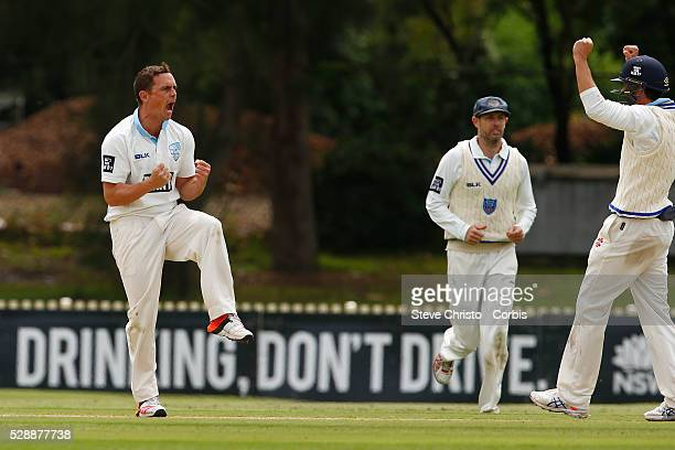 Stephen O'Keefe of the New South Wales Blues celebrates the wicket of the Tasmanian Tiger's Alex Doolan for LBW at Bankstown Oval in Sydney Australia...