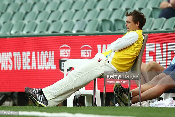 Stephen O'Keefe of the NSW Blues looks on during day one of the Sheffield Shield match between South Australia and New South Wales at Adelaide Oval...