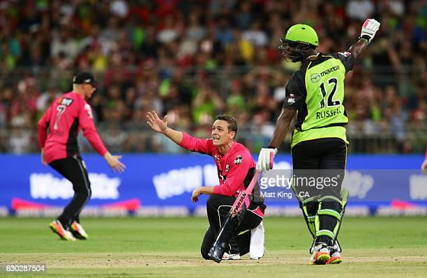 Stephen O'Keefe of the Sixers appeals during the Big Bash League match between the Sydney Thunder and the Sydney Sixers at Spotless Stadium on...
