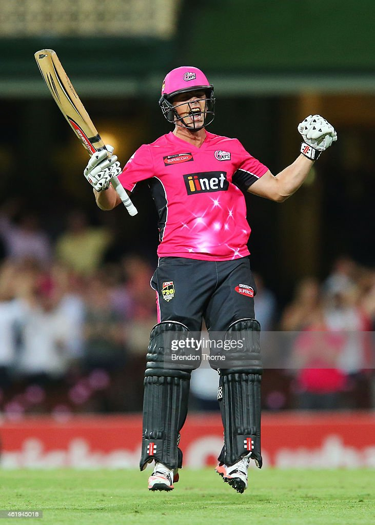 Stephen O'Keefe of the Sixers celebrates after hitting a boundry to claim the victory for the Sixers of the final ball of the innings during the Big...