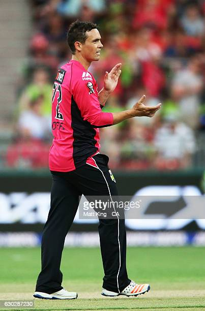 Stephen O'Keefe of the Sixers celebrates taking the wicket of Kurtis Patterson of the Thunder during the Big Bash League match between the Sydney...