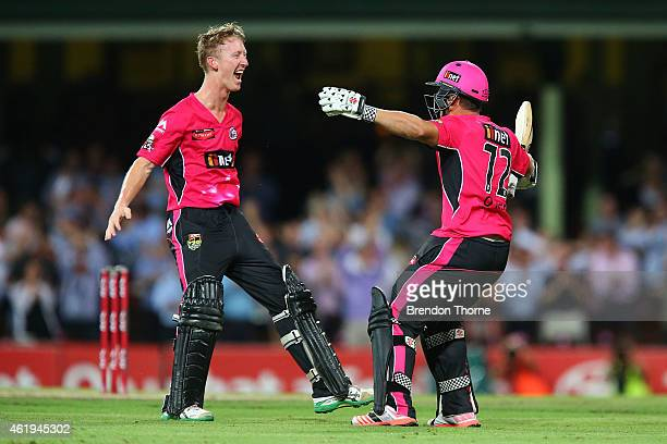 Stephen O'Keefe of the Sixers celebrates with team mate Jordan Silk after hitting a boundry to claim the victory for the Sixers of the final ball of...
