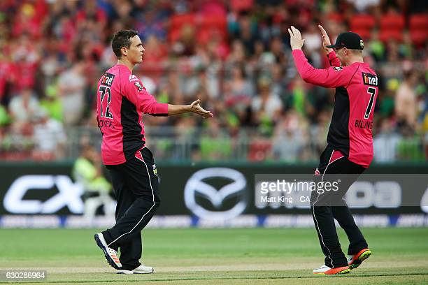 Stephen O'Keefe of the Sixers ct Kurtis Patterson of the Thunder during the Big Bash League match between the Sydney Thunder and the Sydney Sixers at...
