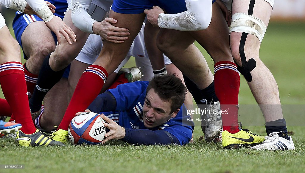 Stephen Parez of France presents the ball at the bottom of a ruck during the U20s RBS Six Nations match between England U20 and France U20 at the Sixways Stadium on February 23, 2013 in Worcester, England.