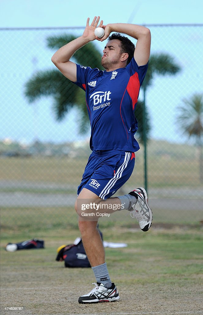Stephen Parry of England bowls during a nets session at Sir Viv Richards Cricket Ground on February 24, 2014 in Antigua, Antigua and Barbuda.