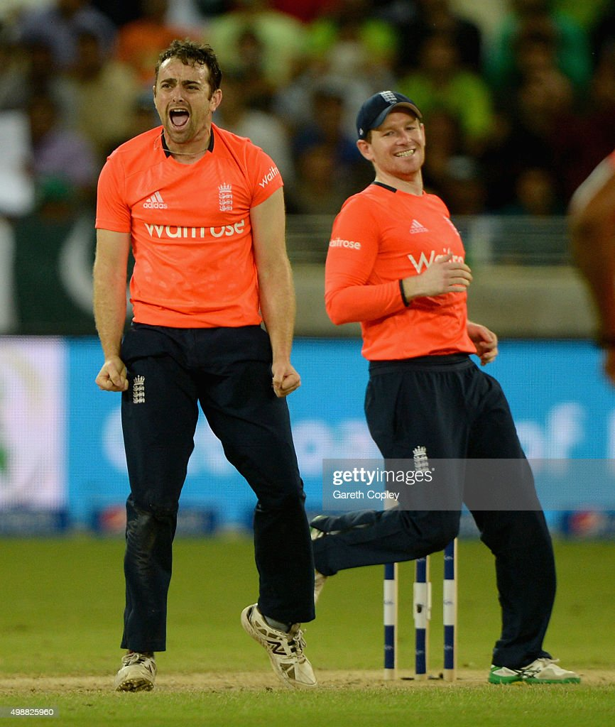 Stephen Parry of England celebrates dismissing Pakistan captain Shahid Afridi during the 1st International T20 match between Pakistan and England at...