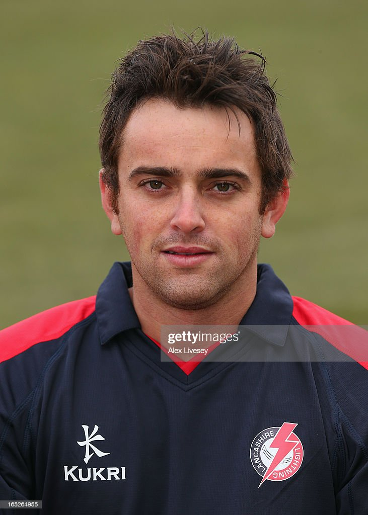Stephen Parry of Lancashire CCC wears the Yorkshire 40 during a pre-season photocall at Old Trafford on April 2, 2013 in Manchester, England.