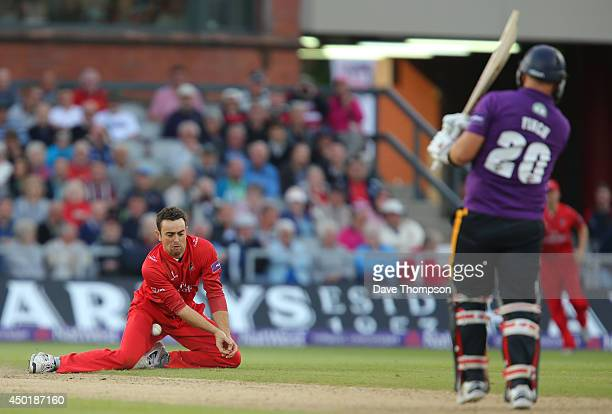 Stephen Parry of Lancashire Lightning is hit by a shot from Aaron Finch of Yorkshire Vikings at Old Trafford on June 6 2014 in Manchester England