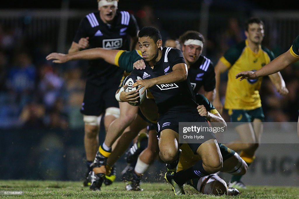 Stephen Perofeta of New Zealand runs the ball during the Under 20s Oceania Rugby match between Australia and New Zealand at Bond University on May 3, 2016 in Gold Coast, Australia.